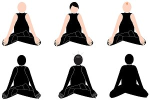 Meditation yoga 6 illustrations set