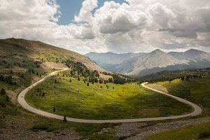 Rolling road in Colorado mountains
