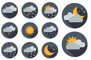 11 Vector Weather icons. Flat design