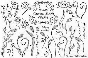 Doodle Flourish Swirls ClipArt