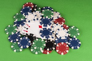 Gambling chips and Ace cards