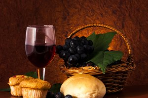 Delicious bread with wine