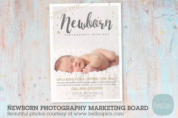 In008 newborn marketing board flyer templates creative market