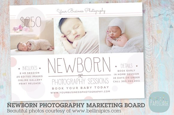 In006 newborn marketing board flyer templates creative market