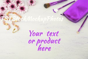 Cosmetic accessories styled mockup