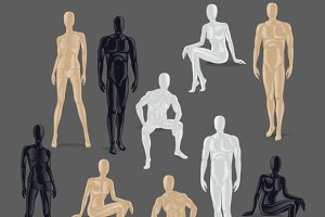Vector Isolated Mannequins