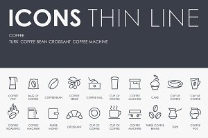 Coffee thinline icons