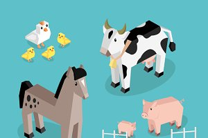 Farm Animal Set Isometric