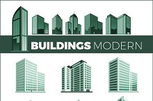 Set Skyscrapers House Building Icon