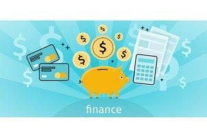Finance Concept Banner Design Flat