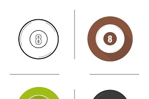 Billiard eight ball icons. Vector