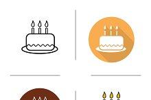 Birthday cake icons. Vector