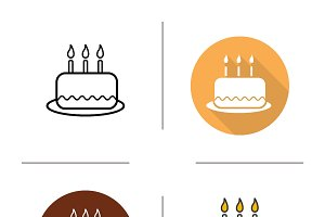 Birthday cake icons. Vector