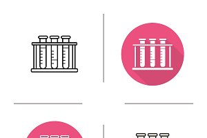 Test tubes rack icons. Vector