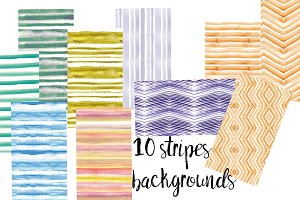 10 watercolor stripes backgrounds
