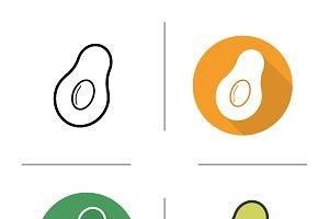 Avocado icons. Vector