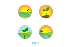 Ecology and nature vector logo set
