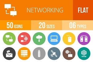 50 Networking Flat Round Icons