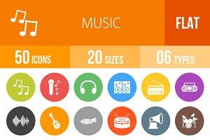 50 Music Flat Round Icons