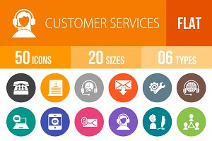 50 Customer Service Flat Round Icons