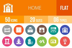 50 Home Flat Round Icons