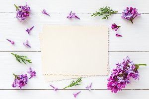 Empty photo frame and lilac flowers