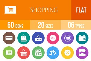 60 Shopping Flat Round Icons