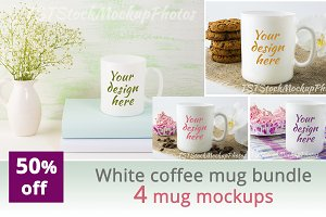 White coffee mug bundle