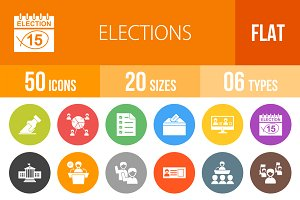 50 Elections Flat Round Icons