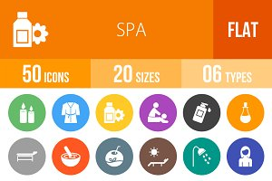 50 Spa Flat Round Icons