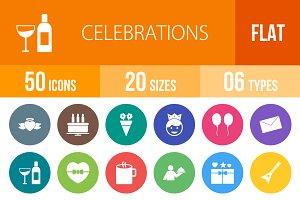 50 Celebrations Flat Round Icons