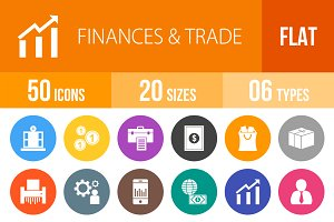 50 Finances & Trade Flat Round Icons