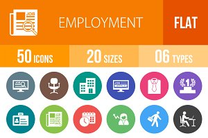 50 Employment Flat Round Icons