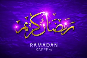 Ramadan greeting card on violet