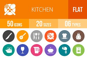 50 Kitchen Flat Round Icons