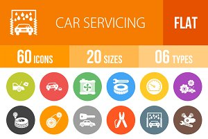 60 Car Servicing Flat Round Icons