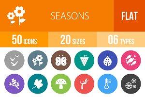 50 Seasons Flat Round Icons
