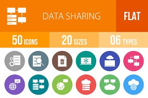 50 Data Sharing Flat Round Icons