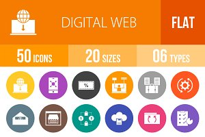 50 Digital Web Flat Round Icons