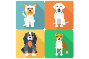 Set icon flat design dogs 4