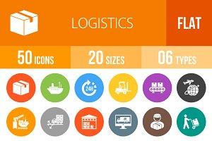 50 Logistics Flat Round Icons