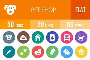 50 Pet Shop Flat Round Icons
