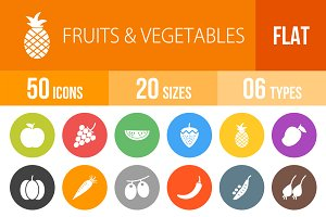 50 Fruit&Vegetables Flat Round Icons