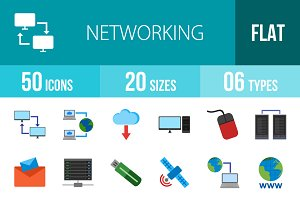 50 Networking Flat Colorful Icons