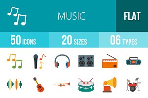 50 Music Flat Colorful Icons