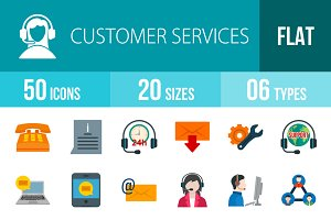 50 Customer Flat Colorful Icons
