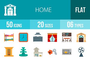50 Home Flat Colorful Icons