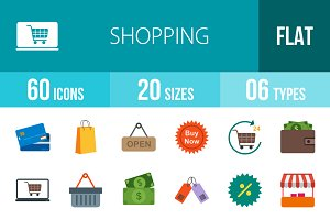 60 Shopping Flat Colorful Icons
