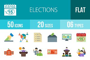 50 Elections Flat Colorful Icons