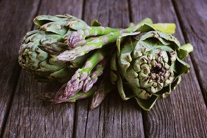 Artichokes with asparagus